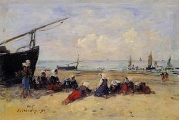 Berck Fisherwomen on the Beach Low Tide 1894